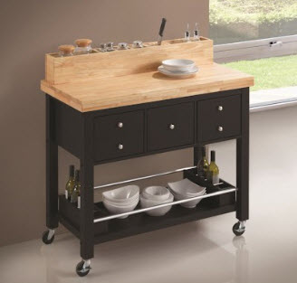 Coaster Black Kitchen Cart with Butcher Block Top