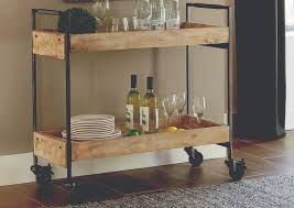 Coaster Rustic Hardwood & Metal Serving Cart