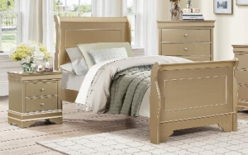 Homelegance Rose Gold Twin Sleigh Bed
