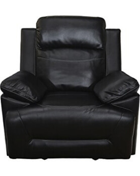 New Classic Cortez Black Faux Leather Gliding Recliner