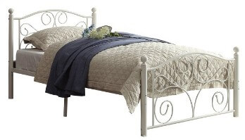 Homelegance White Scrolling Iron Twin Platform Bed