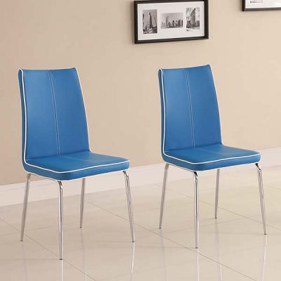 Top-Line Blue Faux Leather Side Chairs (set of 2)