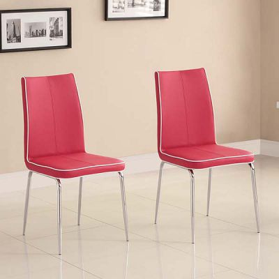 Top-Line Red Faux Leather Side Chairs (set of 2)