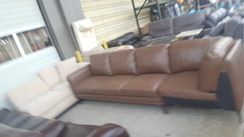 Chateau Dax Chocolate Brown 2-Piece Leather Sectional