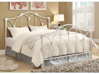 Coaster White Scrolling Iron Queen Bed