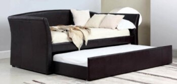 Coaster Dark Brown Faux Leather Day Bed with Trundle