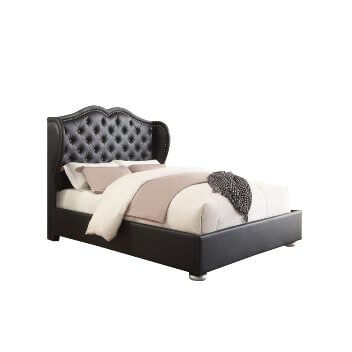 Coaster Black Faux Leather Wingback Queen Bed
