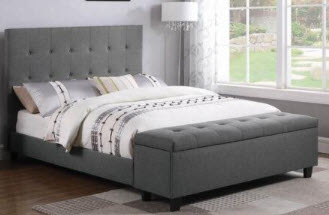 Coaster Harris Charcoal Platform Full Bed with Storage Bench Footboard