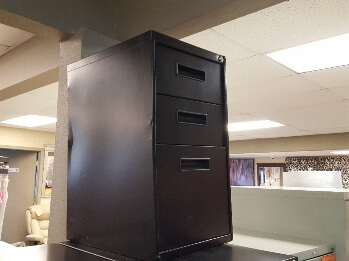 Black 3-Drawer Metal File Cabinet (blemish)
