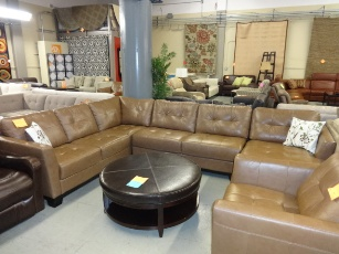 Martino Tan Italian Leather Sectional with Chaise