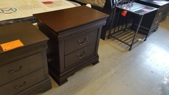 Homelegance Cherry Finsh Nightstand with Wide Trim Accents & Hidden Drawer