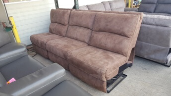 Manwah Vacaro Mocha 3-Piece Armless Sofa with Power Recliners & Power Headrests