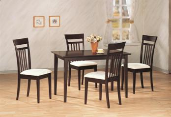 Coaster Cappuccino Finish Dining Set with 4 Chairs