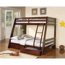 Coaster Cappuccino Finish Twin Over Full Bunk Bed with Storage Drawers