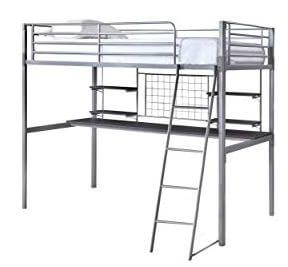 Coaster Silver Metal Twin Loft Bed with Desk & Shelves