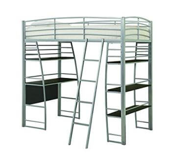Coaster Silver Metal Twin Loft Bed with Desk & Bookcase