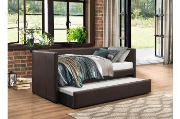 Homelegance Dark Brown Faux Leather Day Bed with Trundle