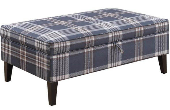 Coaster Plaid Storage Ottoman