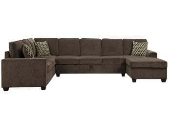 Coaster Provence Brown 3-Piece Sectional with Right-Hand Chaise & Storage