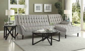 Coaster Plush Silver Sofa with Chaise