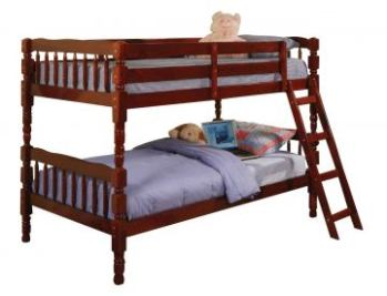 Coaster Cherry Twin Over Twin Bunk Bed with Turned Posts