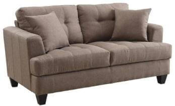 Coaster Mocha Plush Tweed Loveseat with Tufted Accents