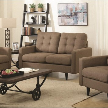 Coaster Mocha Tweed Loveseat with Tufted Accents