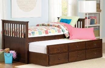 Homelegance Espresso Mission Style Twin Captains Bed with Trundle