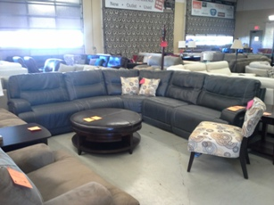 Natuzzi Caruso Dark Blue 5-Piece Power Reclining Italian Leather Sectional