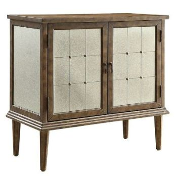 Top-Line Champagne Finish Mirrored Wine Cabinet