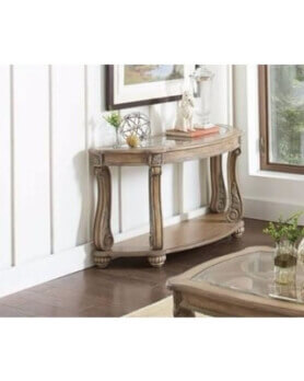 Coaster Antique Linen Finish Half-Round Console Table with Carved Accents