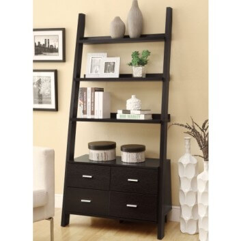 Coaster Dark Walnut Ladder Style Bookcase with Cabinet Base