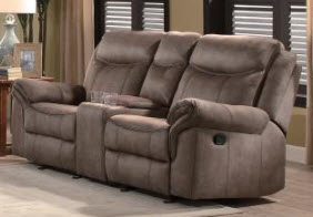 Homelegance Aram Brown Microsuede Gliding/Reclining Loveseat