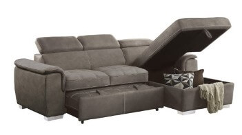 Homelegance Ferriday Taupe Sectional with Sleeper & Storage