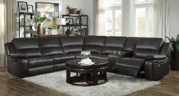 Homelegance Falun Dark Brown Leather Gel Match 6-Piece Power Reclining Sectional with Console