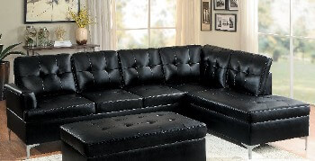 Homelegance Barrington Black Faux Leather 2-Piece Sectional