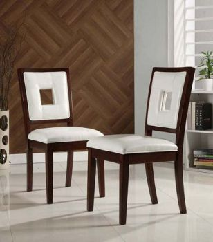 Top-Line White Faux Leather & Espresso Finish Side Chairs (set of 2)