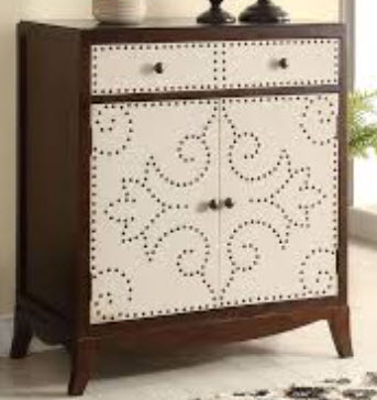 Acme Espresso & White Console Cabinet with Naihead Trim Design