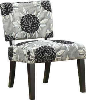 Coaster Silver & Black Floral Accent Chair