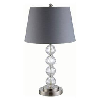 Coaster Stacked Crystal Table Lamp with Round Grey Shade