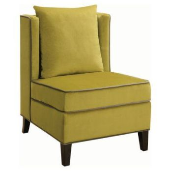 Coaster Chartreuse Velvet Accent Chair with Silver Accents