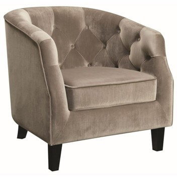 Coaster Plush Silver Accent Chair with Tufted Accents