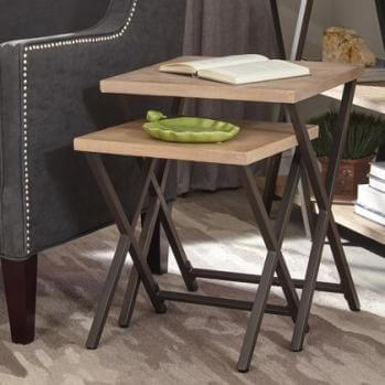 Coaster Rustic Hardwood & Metal Nesting Tables (set of 2)