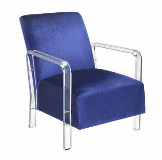 Coaster Blue Velvet Accent Chair with Acrylic Arms