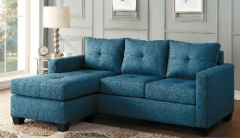 Homelegance Phelps Blue Sofa with Reversible Chaise