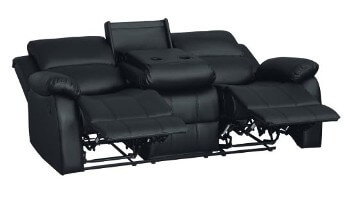 Homelegance Clarkdale Black Faux Leather Reclining Sofa with Drop-Down Console