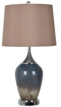Crestview Navy & Beige Glass Table Lamp with Round Beige Shade