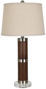 Crestview Metal & Wood Table Lamp with Round White Lampshade