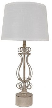 Crestview Scrolling Brown Metal Table Lamp with White Shade