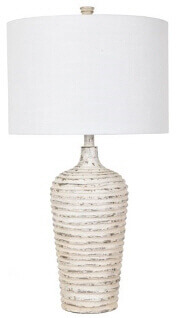 Crestview Distressed White Ceramic Table Lamp with White Shade